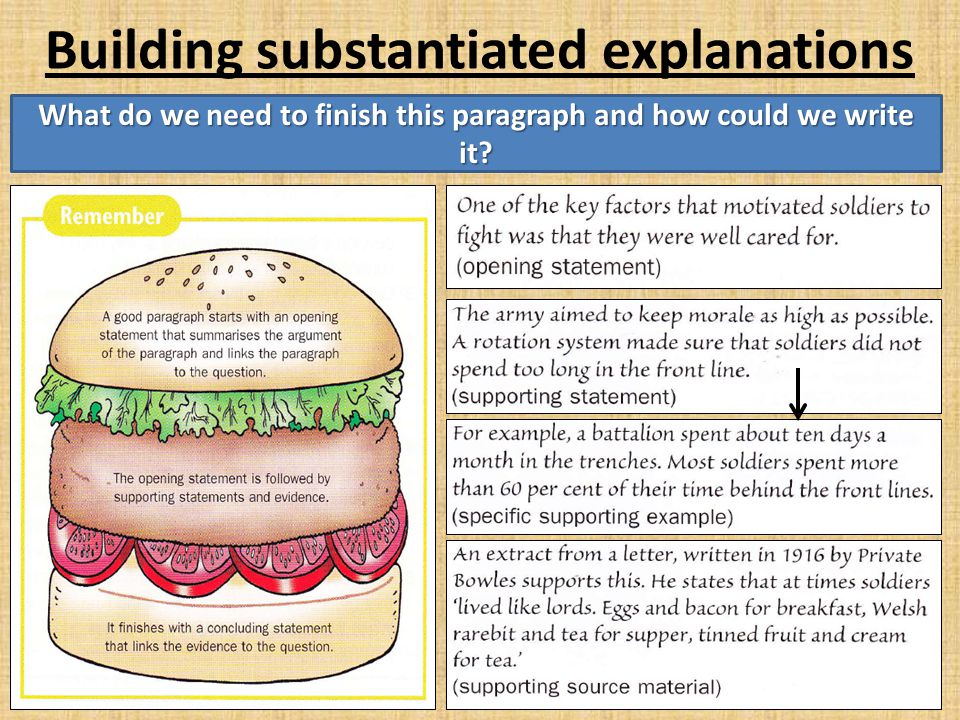Building substantiated explanations