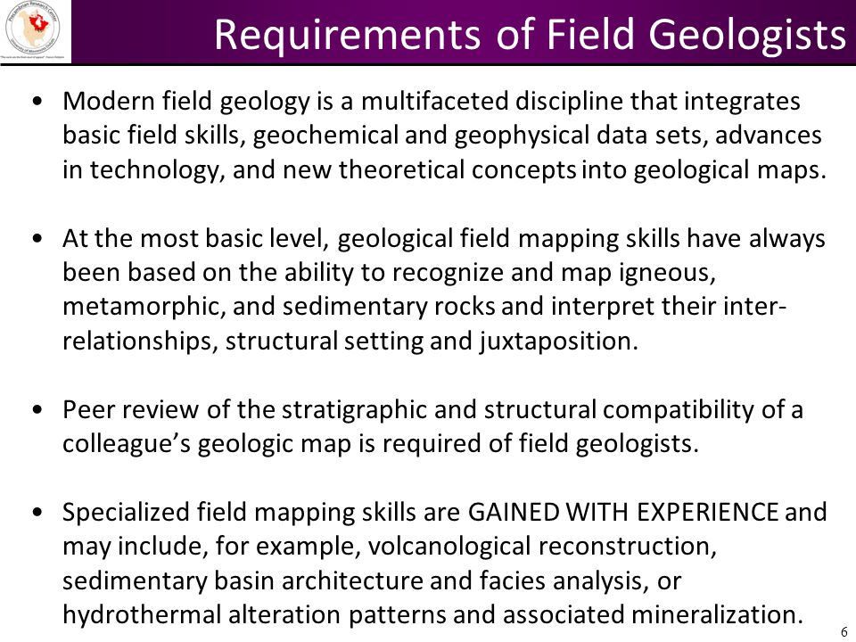 Requirements of Field Geologists