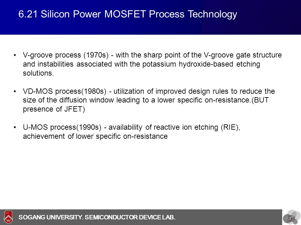 6.21 Silicon Power MOSFET Process Technology