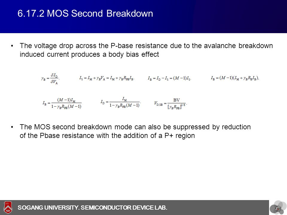 6.17.2 MOS Second Breakdown The voltage drop across the P-base resistance due to the avalanche breakdown induced current produces a body bias effect.