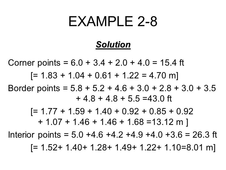 EXAMPLE 2-8 Solution Corner points = 6.0 + 3.4 + 2.0 + 4.0 = 15.4 ft