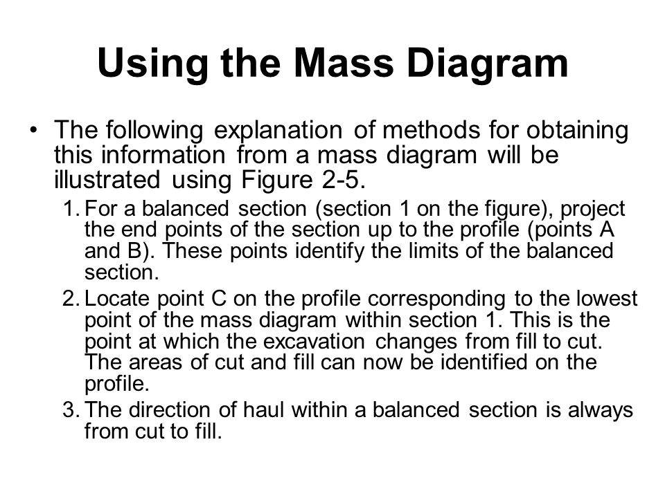 Using the Mass Diagram The following explanation of methods for obtaining this information from a mass diagram will be illustrated using Figure 2-5.