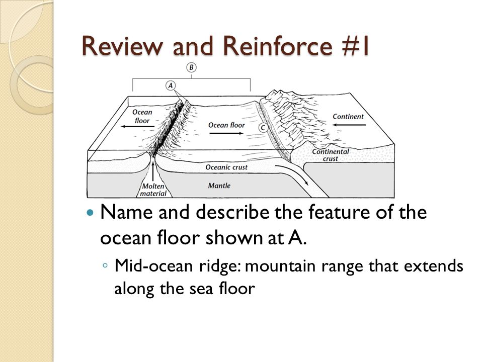 Review and Reinforce #1 Name and describe the feature of the ocean floor shown at A.