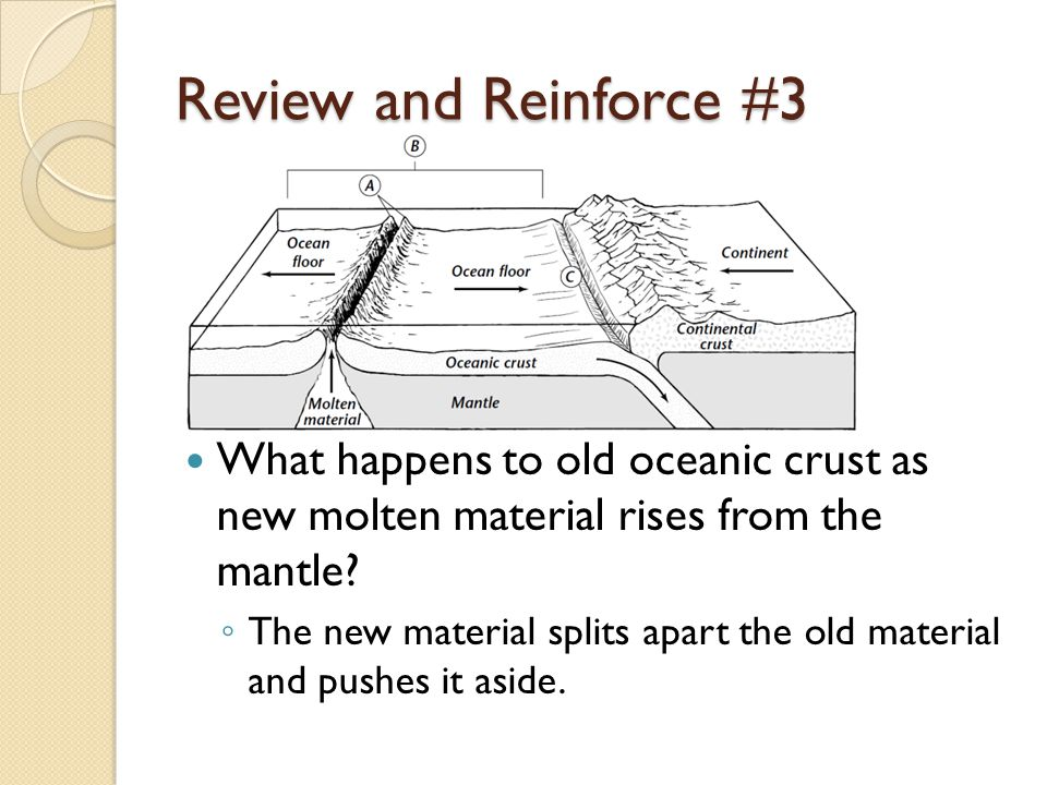 Review and Reinforce #3 What happens to old oceanic crust as new molten material rises from the mantle