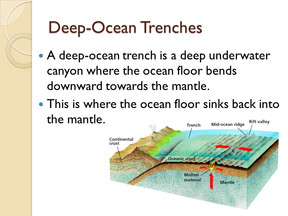 Deep-Ocean Trenches A deep-ocean trench is a deep underwater canyon where the ocean floor bends downward towards the mantle.