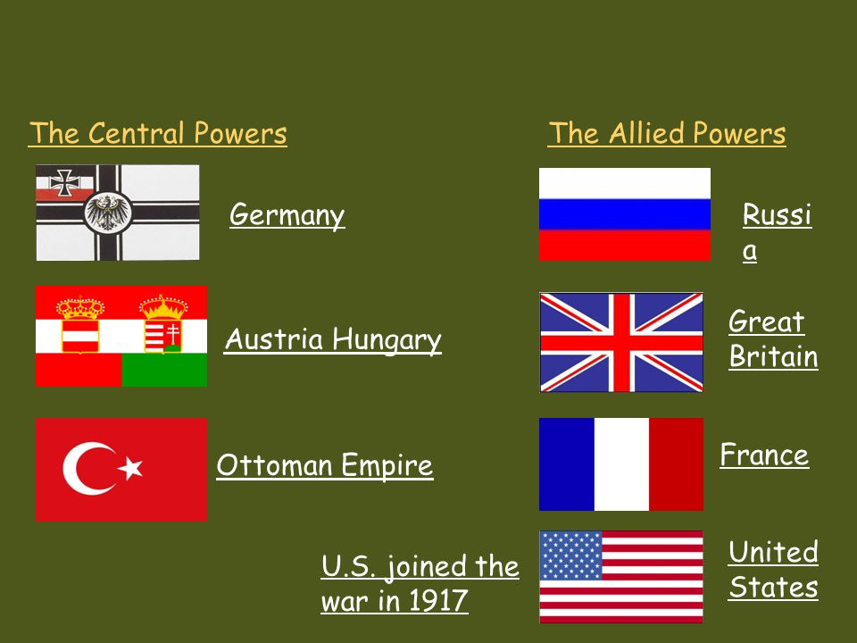 The Central Powers The Allied Powers. Germany. Russia. Great Britain. Austria Hungary. France.
