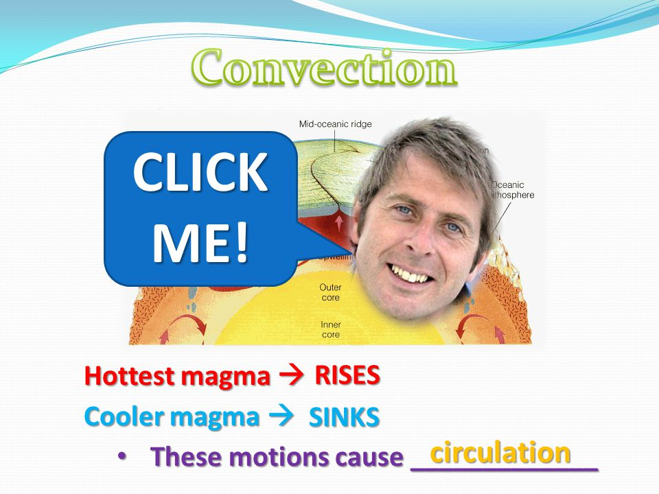 CLICK ME! Convection circulation Hottest magma  RISES Cooler magma 