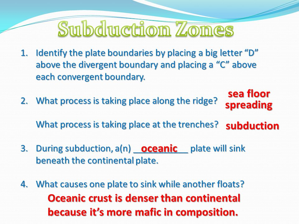 Subduction Zones sea floor spreading subduction oceanic