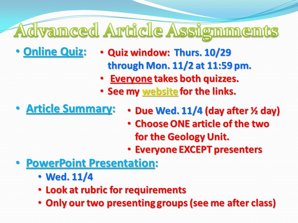 Advanced Article Assignments