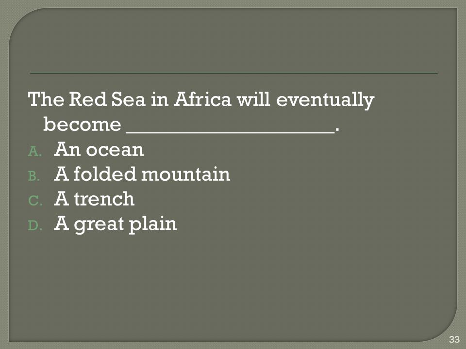 The Red Sea in Africa will eventually become ____________________.