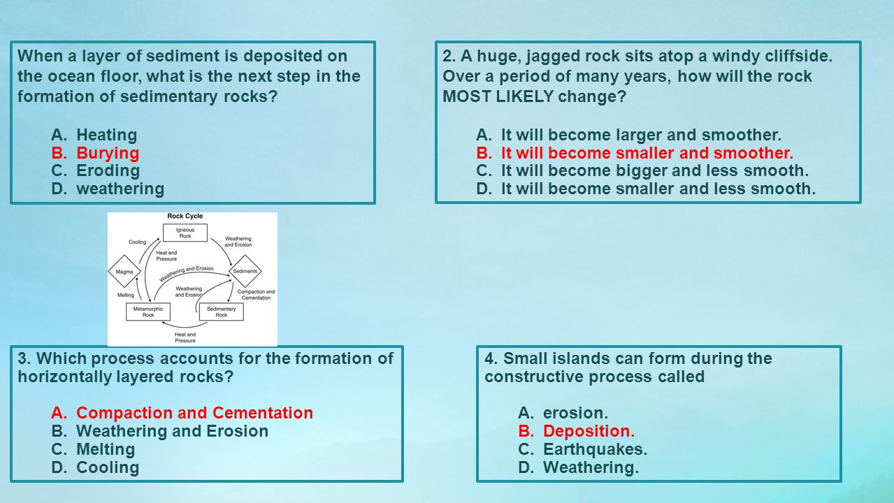 When a layer of sediment is deposited on the ocean floor, what is the next step in the formation of sedimentary rocks