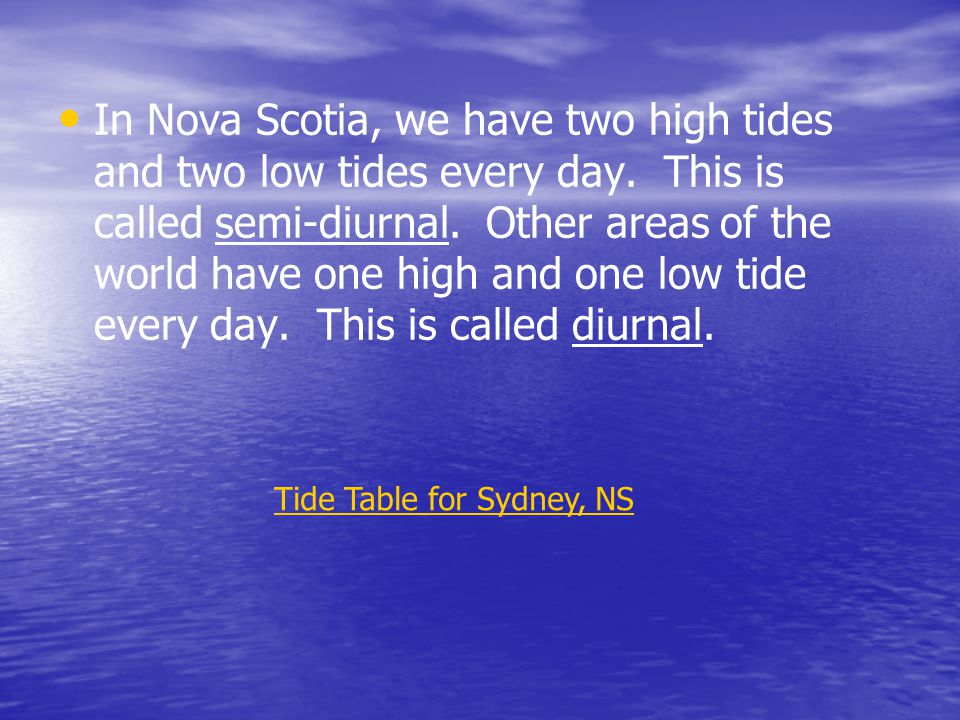 Tide Table for Sydney, NS