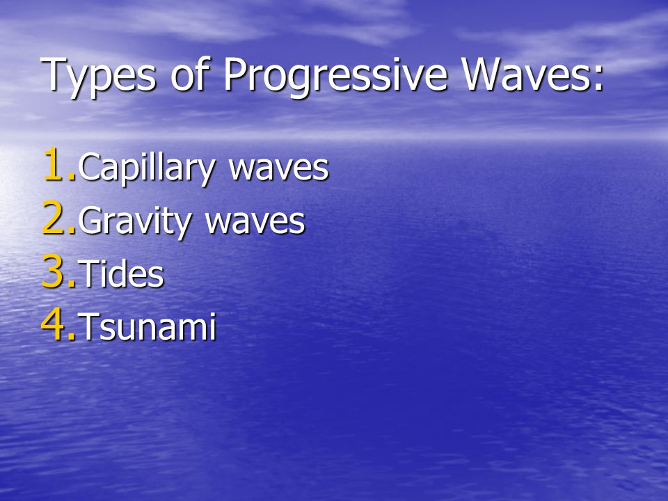 Types of Progressive Waves: