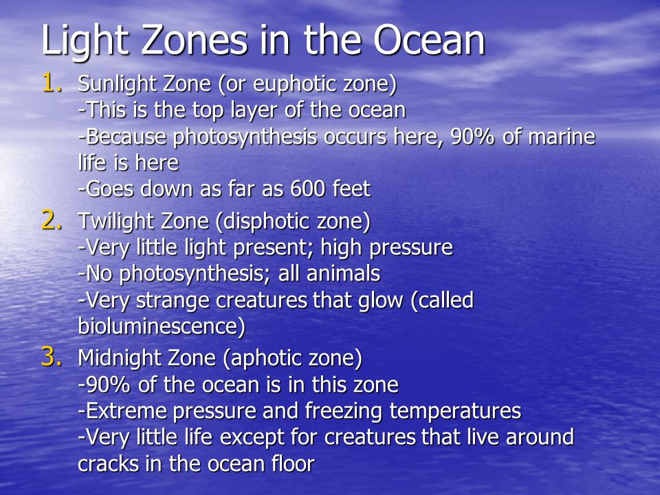 Light Zones in the Ocean
