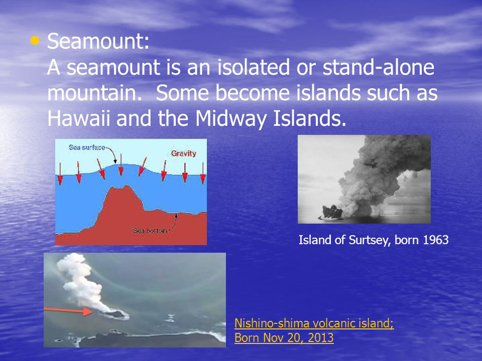 Seamount: A seamount is an isolated or stand-alone mountain