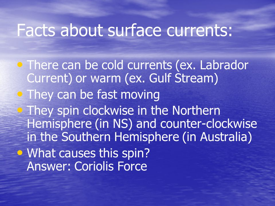Facts about surface currents: