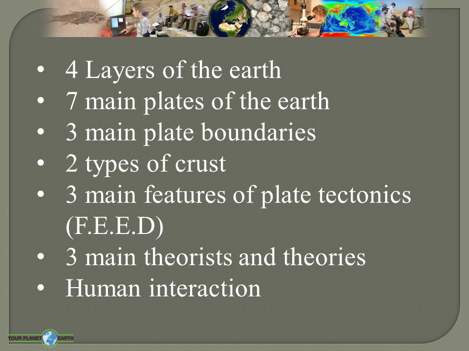4 Layers of the earth 7 main plates of the earth. 3 main plate boundaries. 2 types of crust. 3 main features of plate tectonics (F.E.E.D)