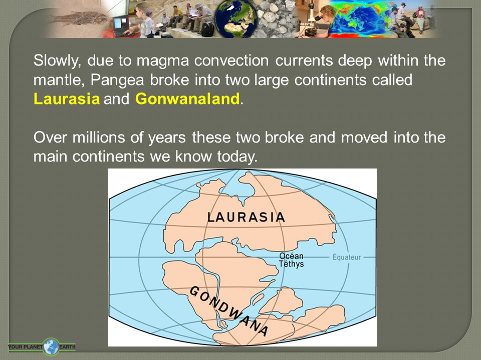Slowly, due to magma convection currents deep within the mantle, Pangea broke into two large continents called Laurasia and Gonwanaland.