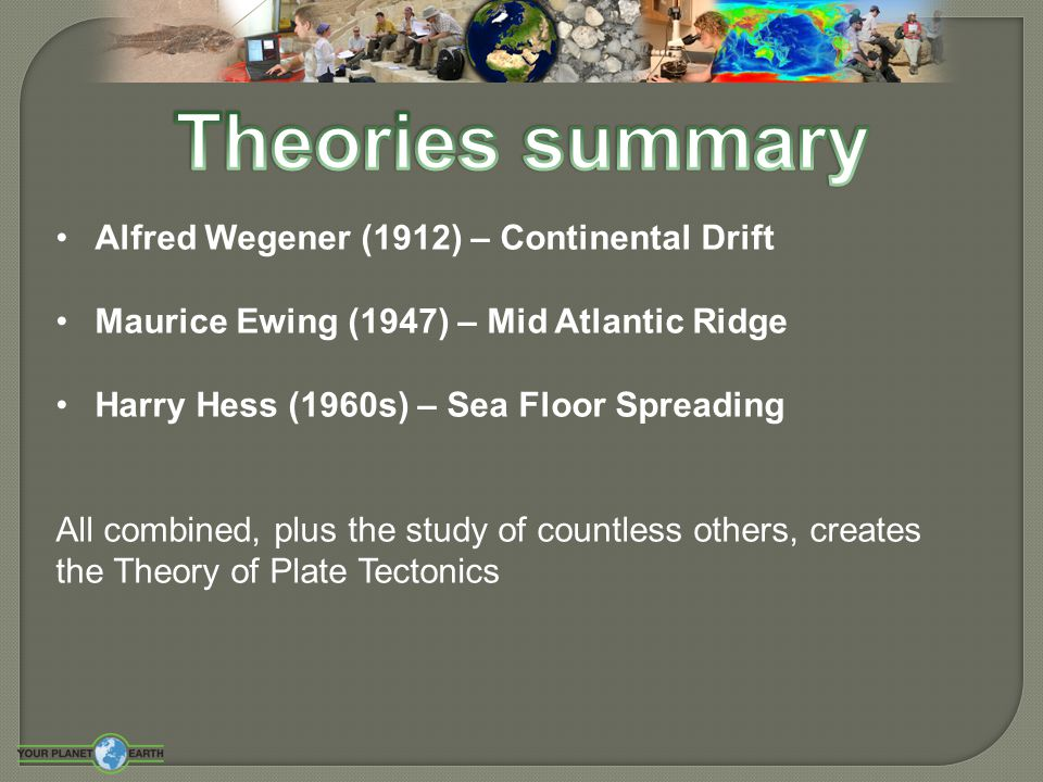 an introduction to alfred wegeners theory of continental drift and harry hess theory of ocean floor  Wiki as never seen before with video and photo galleries, discover something new today.