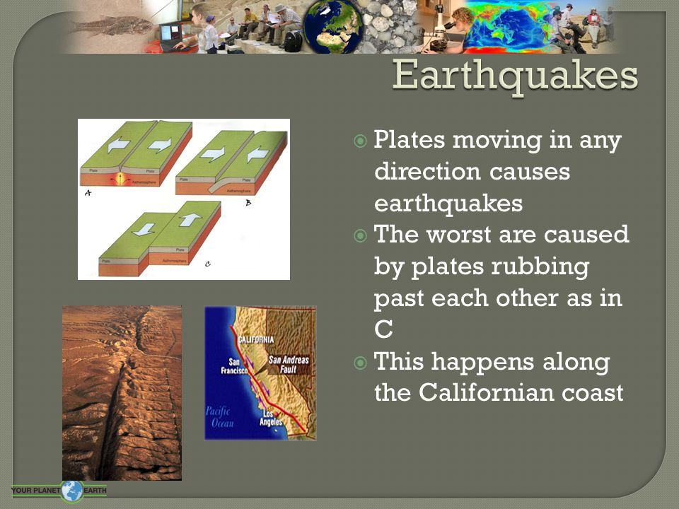 Earthquakes Plates moving in any direction causes earthquakes