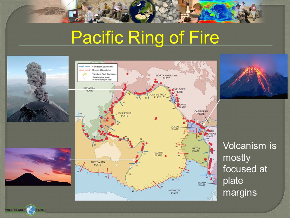 Pacific Ring of Fire Volcanism is mostly focused at plate margins