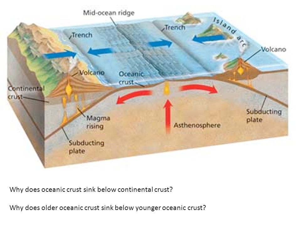Why does oceanic crust sink below continental crust