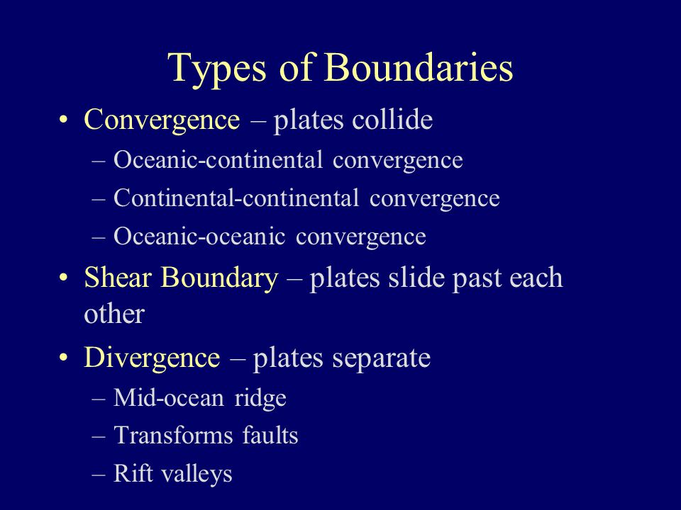 Types of Boundaries Convergence – plates collide