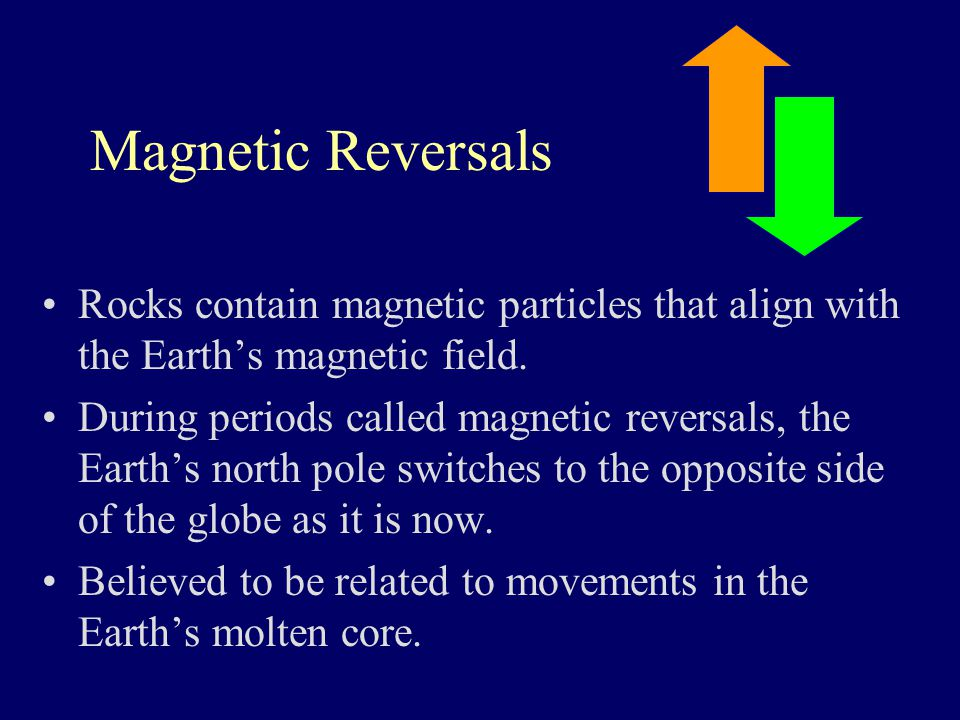 Magnetic Reversals Rocks contain magnetic particles that align with the Earth's magnetic field.
