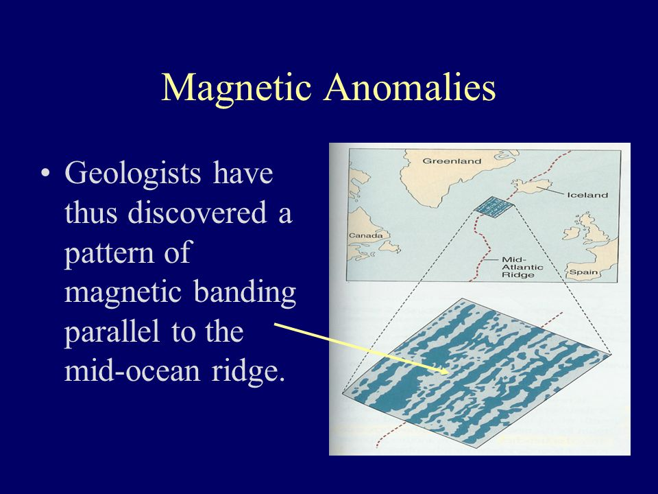 Magnetic Anomalies Geologists have thus discovered a pattern of magnetic banding parallel to the mid-ocean ridge.