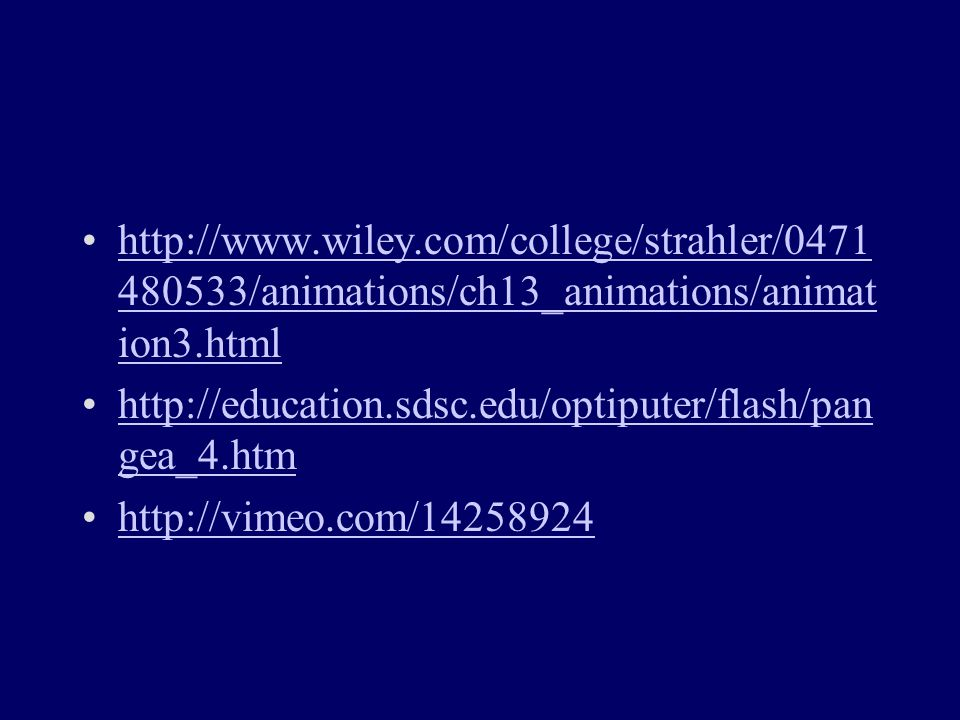 http://www.wiley.com/college/strahler/0471480533/animations/ch13_animations/animation3.html http://education.sdsc.edu/optiputer/flash/pangea_4.htm.