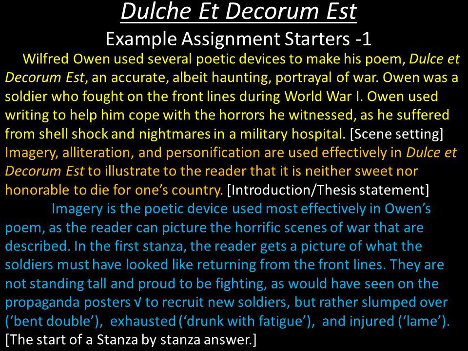 Dulche Et Decorum Est Example Assignment Starters -1