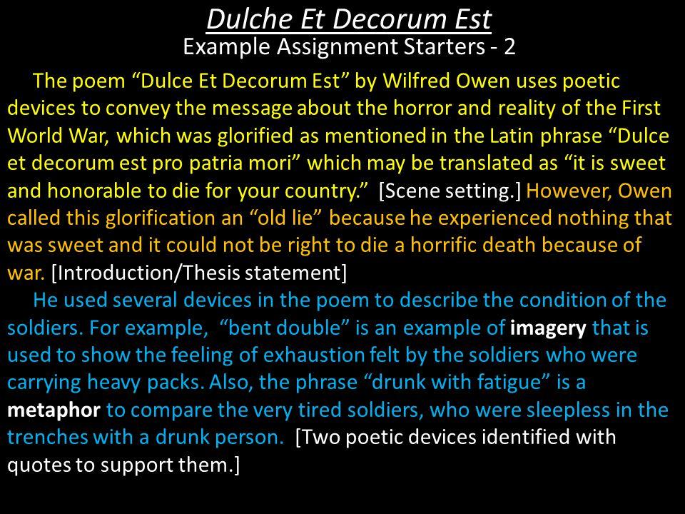 Dulche Et Decorum Est Example Assignment Starters - 2