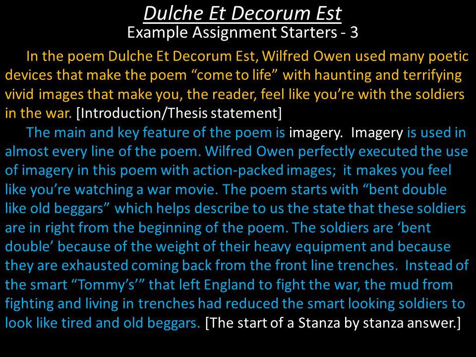 Dulche Et Decorum Est Example Assignment Starters - 3