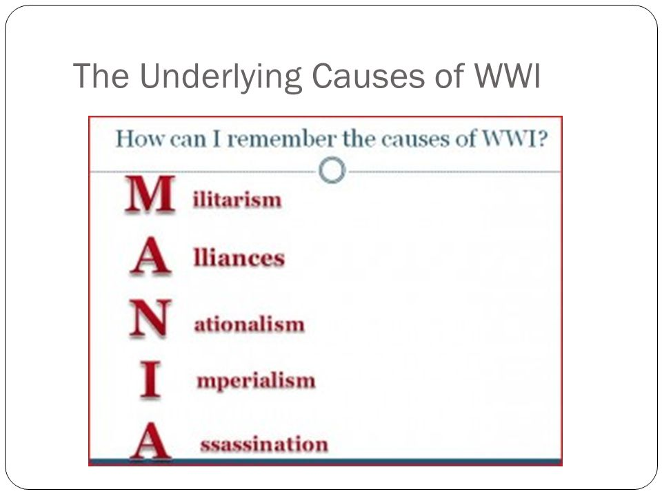 The Underlying Causes of WWI