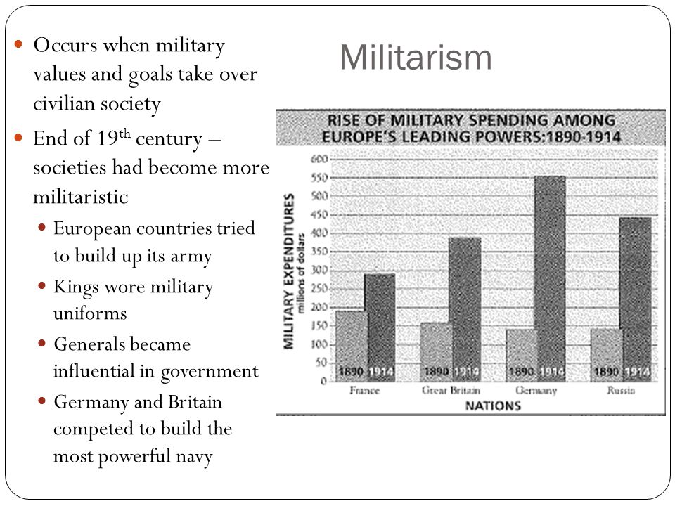 Militarism Occurs when military values and goals take over civilian society. End of 19th century – societies had become more militaristic.