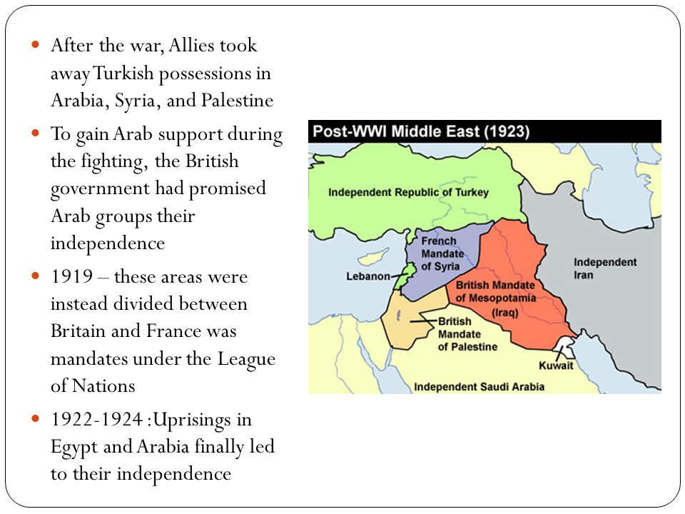 After the war, Allies took away Turkish possessions in Arabia, Syria, and Palestine