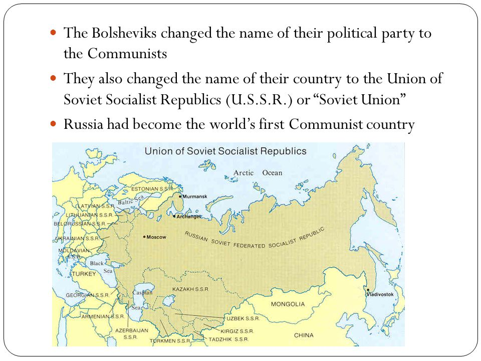 The Bolsheviks changed the name of their political party to the Communists