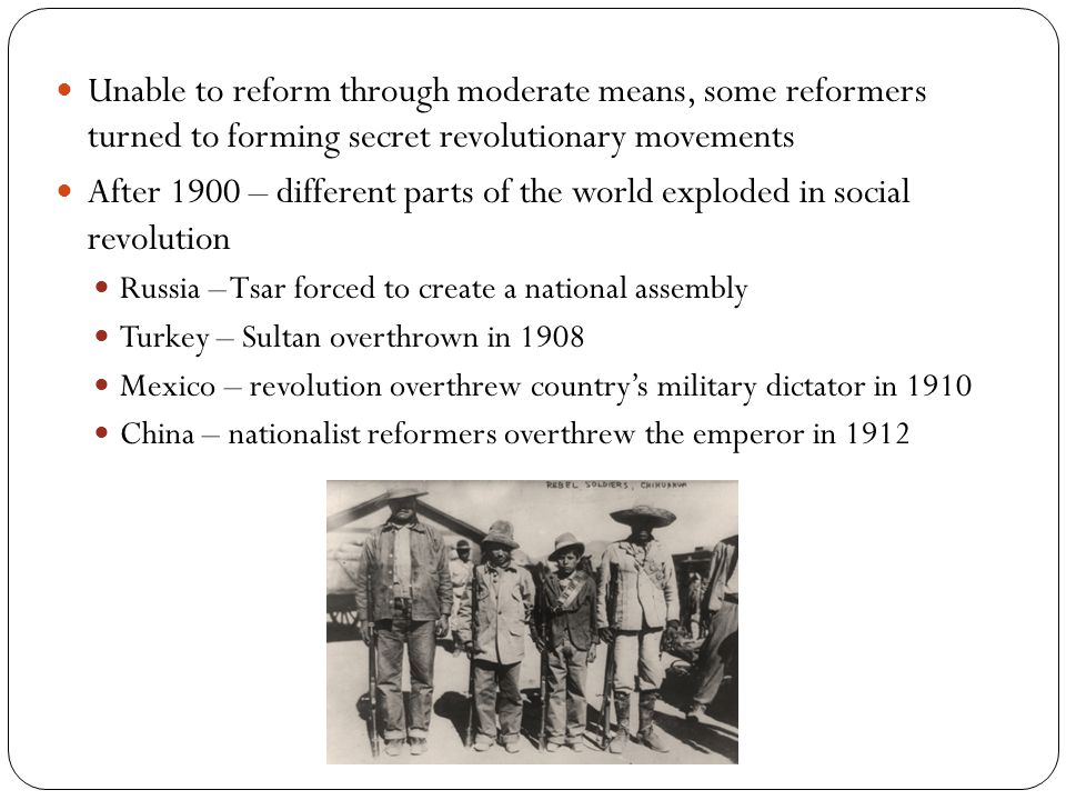 Unable to reform through moderate means, some reformers turned to forming secret revolutionary movements