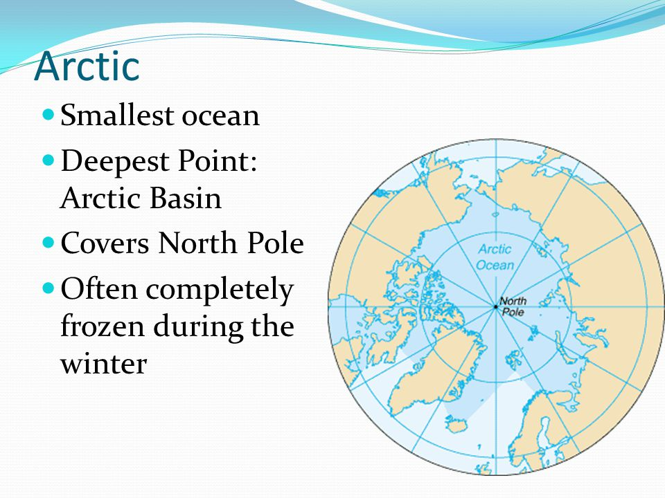 Arctic Smallest ocean Deepest Point: Arctic Basin Covers North Pole