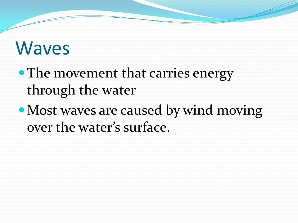 Waves The movement that carries energy through the water