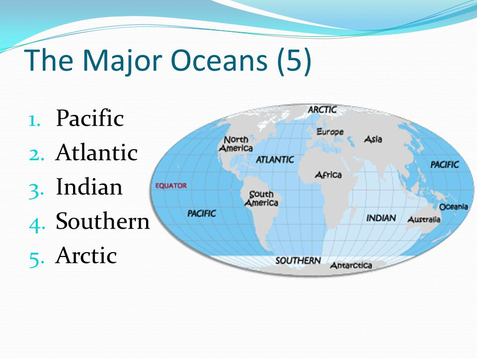 The Major Oceans (5) Pacific Atlantic Indian Southern Arctic