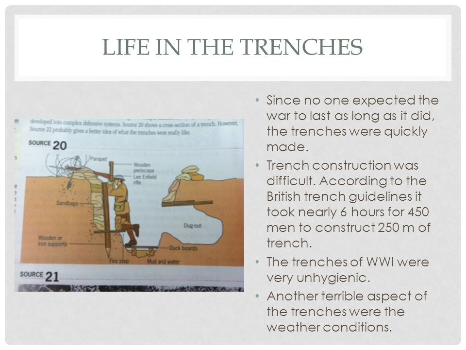 Life in the Trenches Since no one expected the war to last as long as it did, the trenches were quickly made.