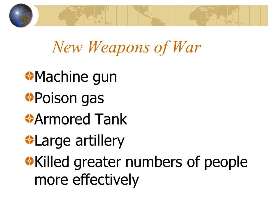New Weapons of War Machine gun Poison gas Armored Tank Large artillery