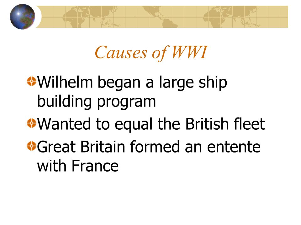 Causes of WWI Wilhelm began a large ship building program