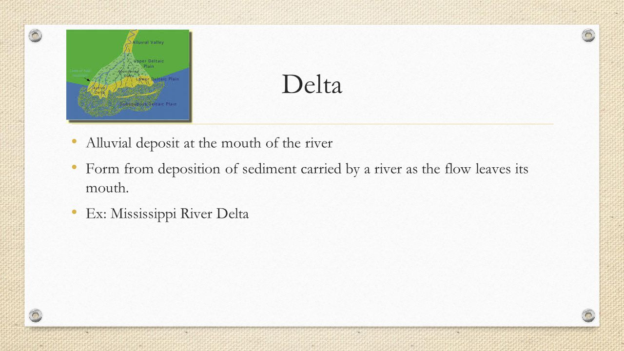 Delta Alluvial deposit at the mouth of the river