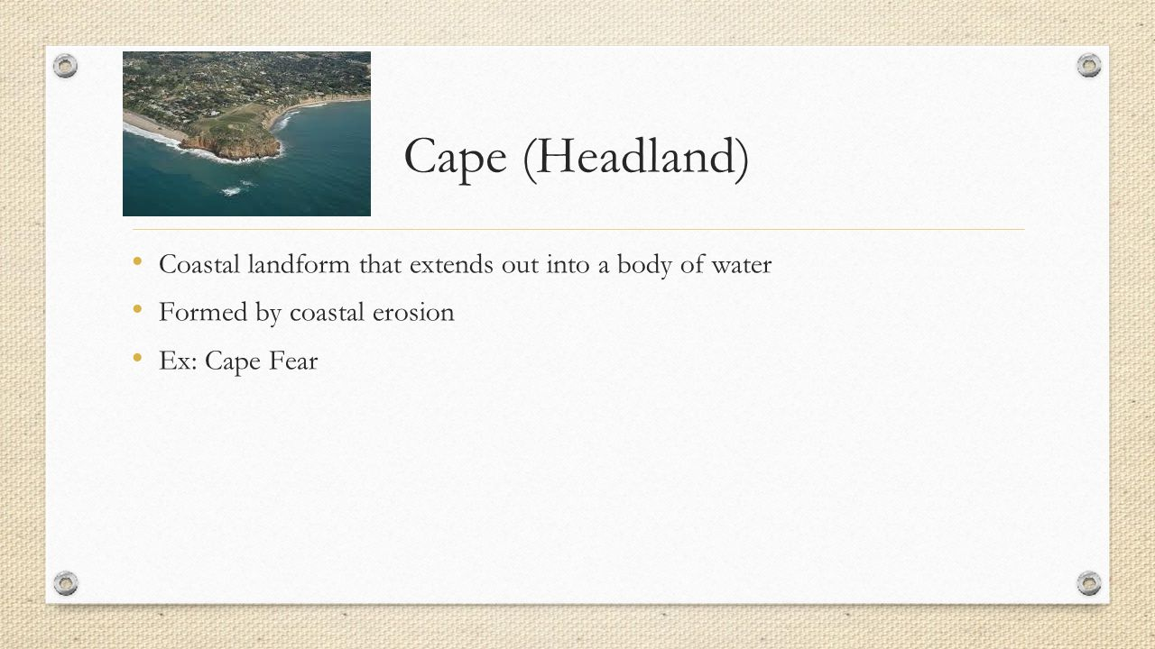Cape (Headland) Coastal landform that extends out into a body of water