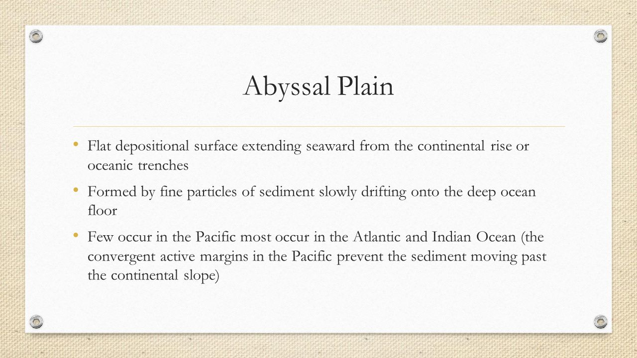 Abyssal Plain Flat depositional surface extending seaward from the continental rise or oceanic trenches.
