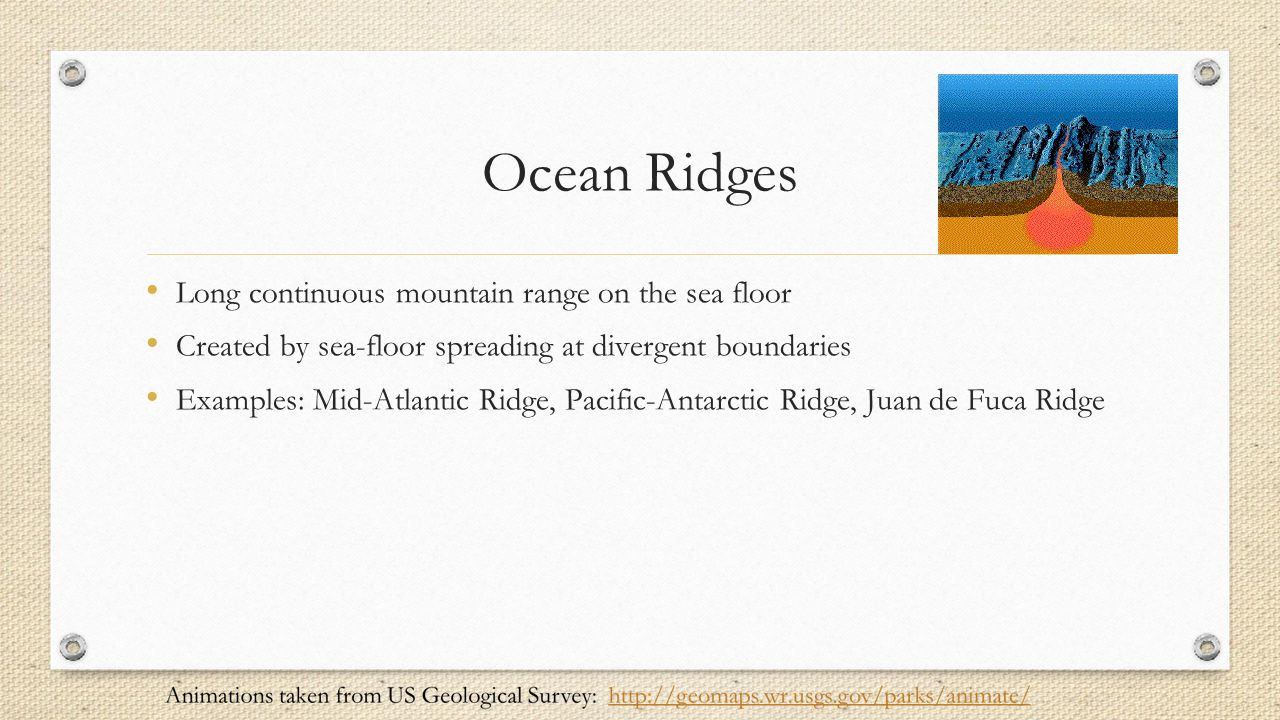 Ocean Ridges Long continuous mountain range on the sea floor
