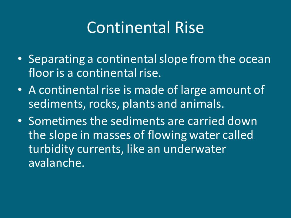 Continental Rise Separating a continental slope from the ocean floor is a continental rise.
