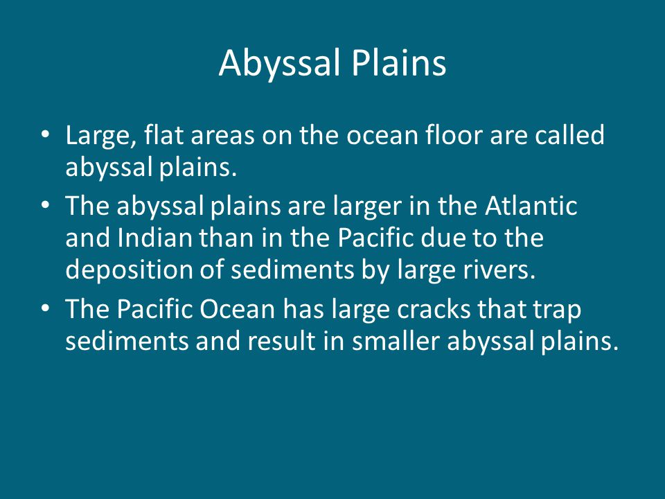 Abyssal Plains Large, flat areas on the ocean floor are called abyssal plains.